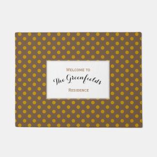 Personalised Yellow Ochre Brown Polka Dots Doormat
