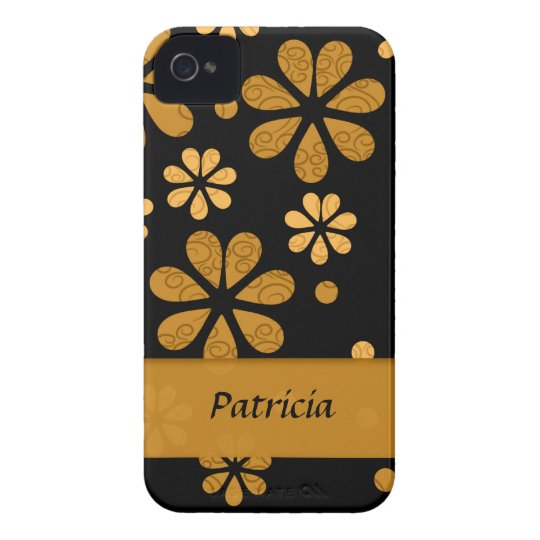 Personalised  Yellow Retro Flowers On Black Case-Mate iPhone 4 Cases