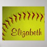 Personalised Yellow Softball