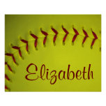 Personalised Yellow Softball Poster