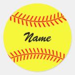 Personalised yellow softball stickers