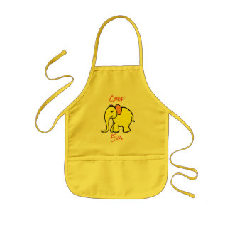 Personalised Yellow Sweet Cartoon Baby Elephant Kids Apron