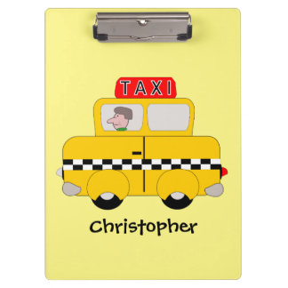 Personalised Yellow Taxi Design Clipboard