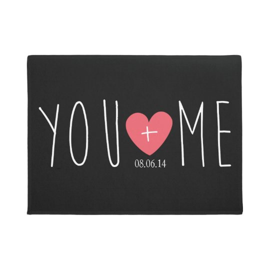 Personalised You and Me Heart with Wedding Date Doormat