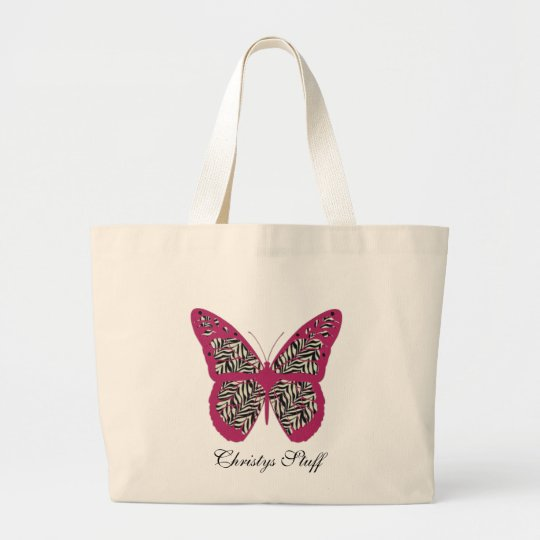 Personalised Zebra Print Butterfly Tote Bag