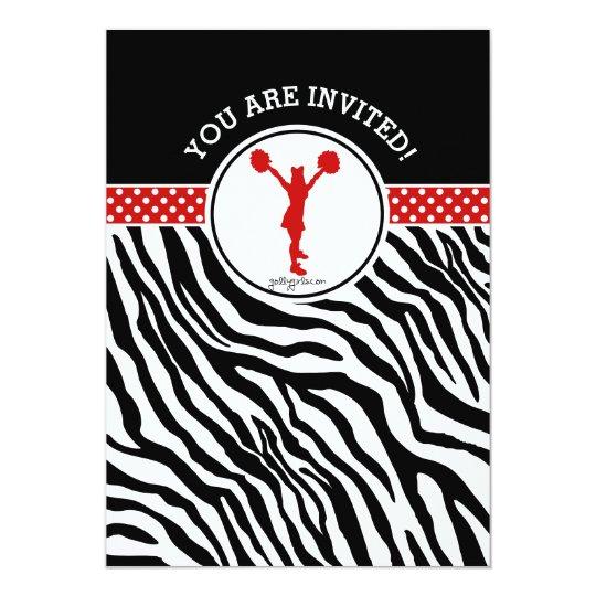 Personalised Zebra Print Cheer or Pom in Red Card