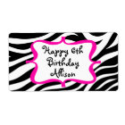 Personalised Zebra Print Pink Water Bottle Label