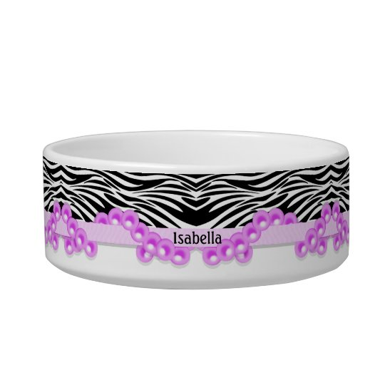 Personalised Zebra Stripes and Pink Pearls Bowl