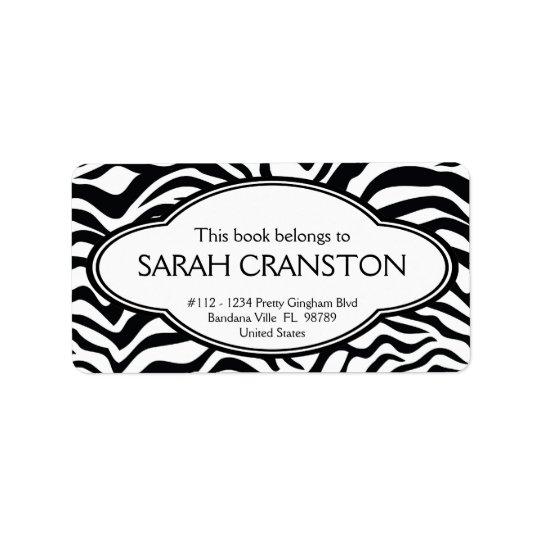 Personalised Zebra Stripes Pattern Bookplate Label