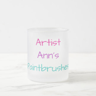 Personalizable Artist Ann's Paintbrushes Holder Frosted Glass Coffee Mug