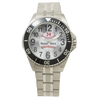 Personalizable Baseball Watches YOUR NAME & NUMBER