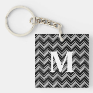 Personalizable Black Gray Monogram Chevron Pattern Square Acrylic Key Chains