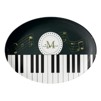 Personalizable Black White Piano Keys Music Notes Porcelain Serving Platter