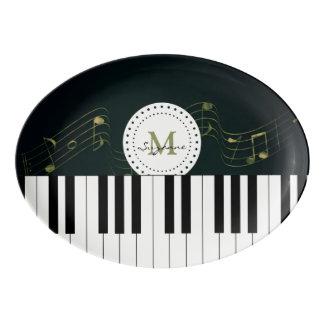 Personalizable Black White Piano Keys Music Notes Porcelain Serving Platter