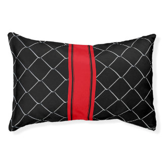Personalizable Black White Red Pattern Pet Bed