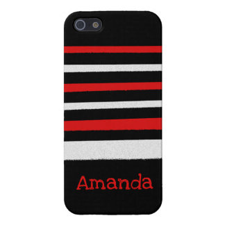 Personalizable Black White Red Stripes Cool Simple iPhone 5 Case