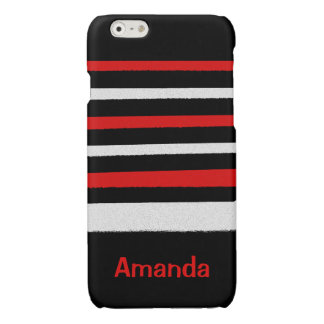 Personalizable Black White Red Stripes Cool Simple iPhone 6 Plus Case