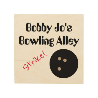 """Personalizable Bowling Alley """"Strike!"""" with Ball Wood Wall Art"""