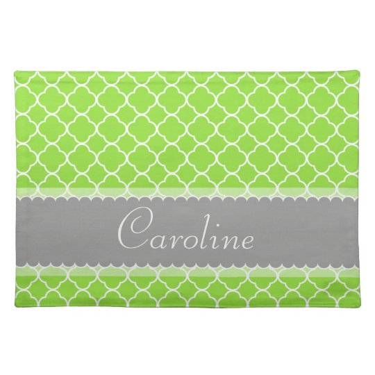 Personalizable Bright Green Quatrefoil Pattern Place Mat