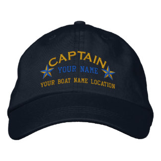Personalizable Captain Stars Ball Cap Embroidery Embroidered Baseball Cap