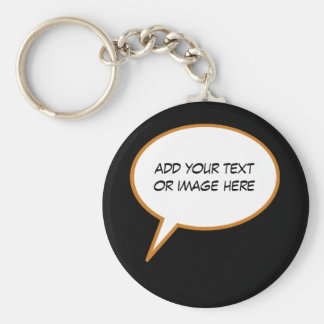 personalizable cartoon speech balloon key ring