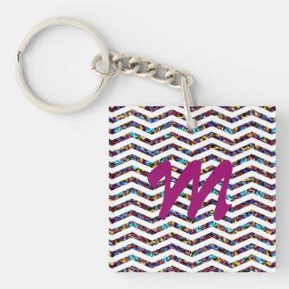 Personalizable Colourful Monogram Chevron Pattern Key Chain