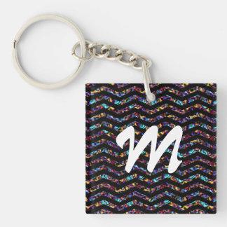 Personalizable Colourful Monogram Chevron Pattern Keychain
