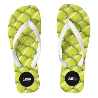 Personalizable Cool Tennis Pattern Sport Gift Flip Flops