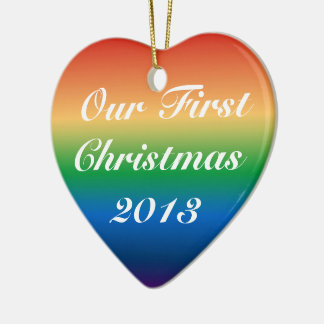 Personalizable Custom Gay Marrige First Christmas Ceramic Heart Decoration
