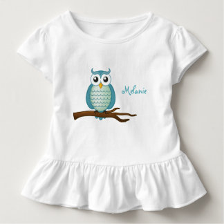 Personalizable Cute Aqua Owl Toddler T-Shirt