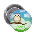 Personalizable Cute Wise Owl | Button