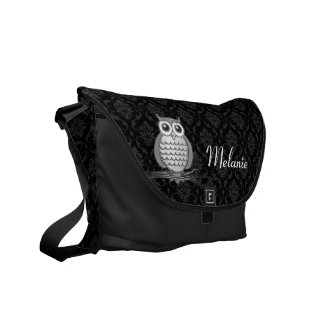 Personalizable Cute Wise Owl Damask Messenger Bag