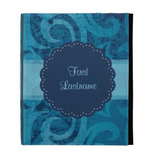 Personalizable Distressed Blue Damask iPad Folio Case