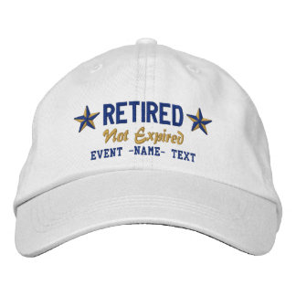 Personalizable Edit Text Happy Retired Embroidery Embroidered Baseball Caps