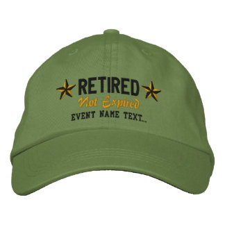 Personalizable Edit Text Happy Retired Embroidery Baseball Cap