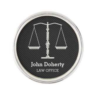 Personalizable | Elegant Silver Scales of Justice Lapel Pin