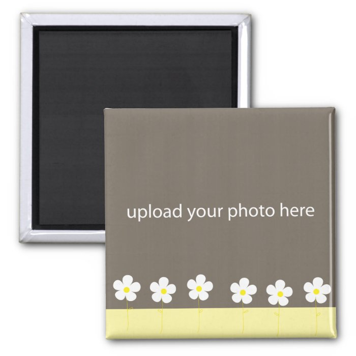 Personalizable Flower Photo Frame Square Magnet