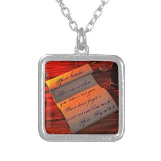Personalizable Handwritten Letter Square Pendant Necklace