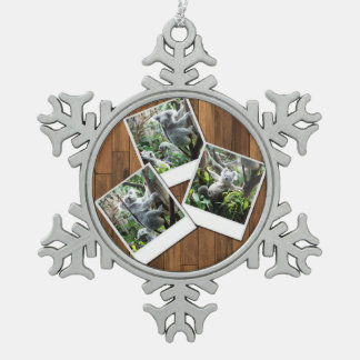 Personalizable Instant Multi Photo Frame Pewter Snowflake Decoration