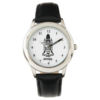 Personalizable kids watch with space shuttle print