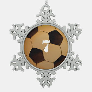 Personalizable Lucky Number Soccer Football Snowflake Pewter Christmas Ornament