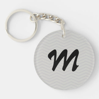Personalizable Monogram Chevron Pattern Keychains