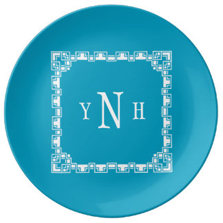 Personalizable pillow with three-letter Monogram Plate