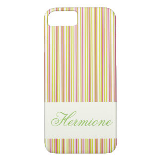 Personalizable Pink  and Mint Stripes iPhone Case