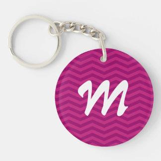 Personalizable Pink Monogram Chevron Pattern Key Chains