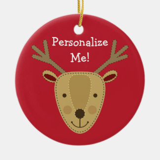 Personalizable Reindeer w/Custom Photo Christmas Ornament