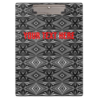 Personalizable Stylish Black White Silver Pattern Clipboard
