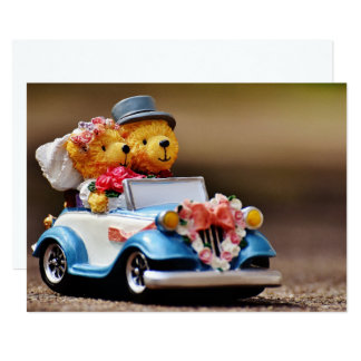 Personalizable Teddy Bear Wedding 13 Cm X 18 Cm Invitation Card
