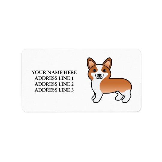 Personalizable Text & Red Welsh Corgi Pembroke Dog Address Label