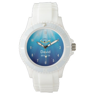 Personalizable Watch with Christian Fish Symbol